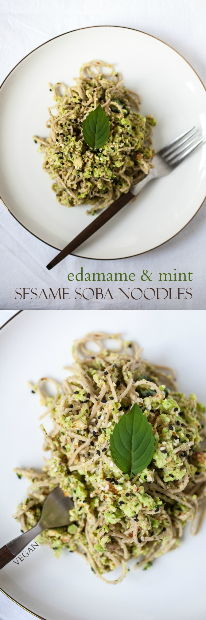 Edamame & Mint Sesame Soba Noodles + My Near & Far Cookbook Review - Produce On Parade - A quick and very easy sesame soba recipe featuring fresh mint, raw almonds, and protein-packed edamame with a hint of smokiness, crisp lemon, and pepper. Adapted from the cookbook Near & Far.