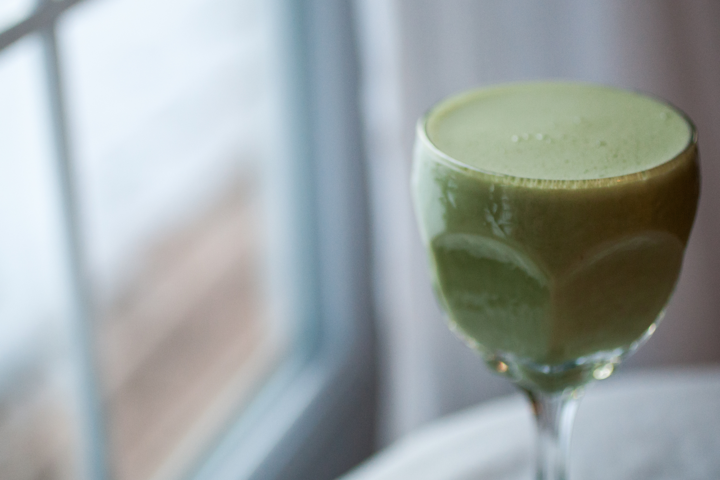 Produce On Parade - Holiday Matcha Shake - A frosty, matcha shake infused with fresh nutmeg and sweetened by Kahlua is thick with creamy cashews that makes a healthy and delicious treat!