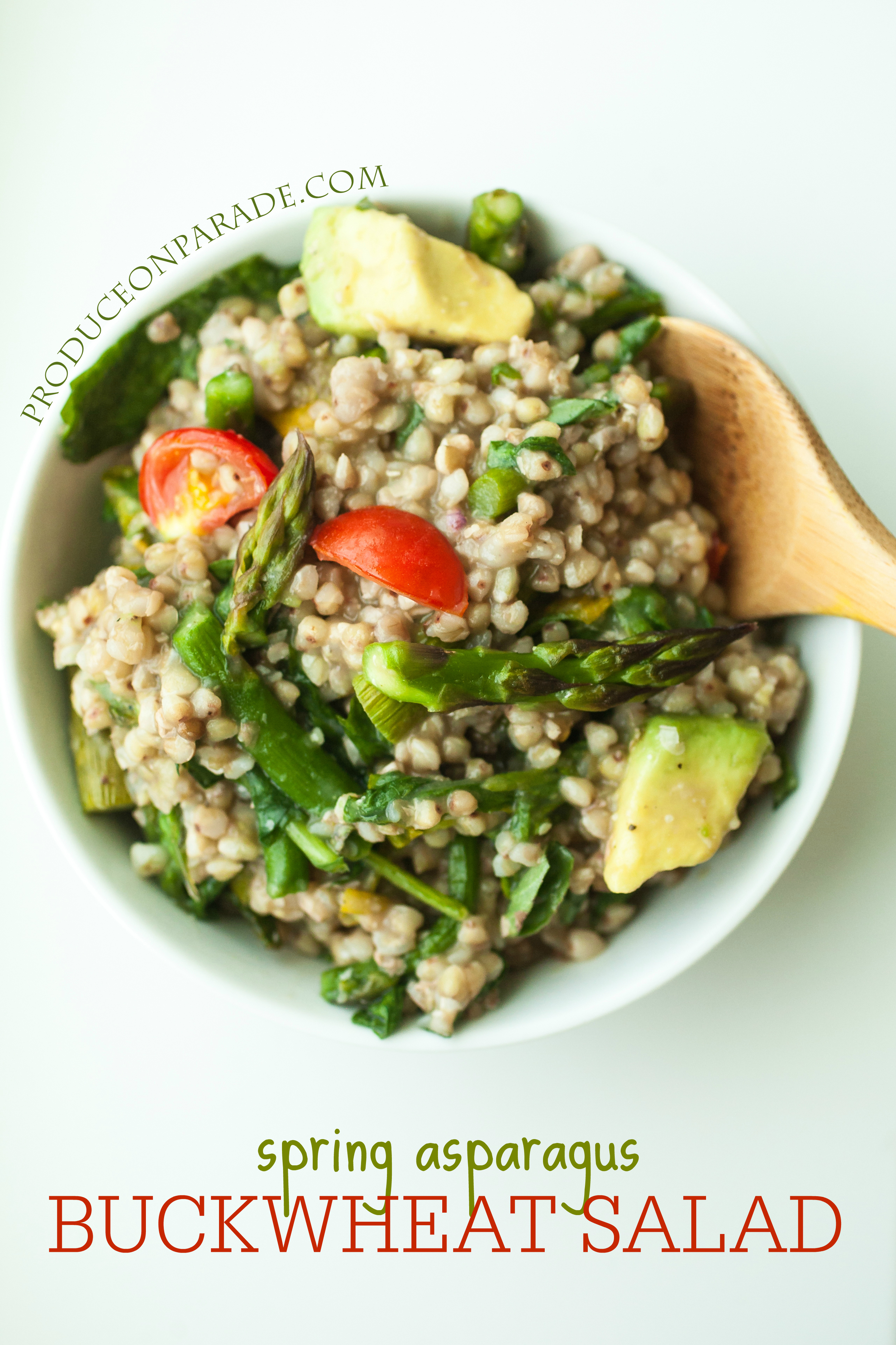 Produce On Parade - Spring Asparagus Buckwheat Salad - Buckwheat groats are a neat alternative to cous cous, quinoa, millet, or rice. They're most often associated with breakfast but make a wholesome, hearty salad as well! This salad lends an easy, springtime feeling; crisp asparagus, roasted arugula, sweet cherry tomatoes, and creamy avocado bath in a basil-lemon dressing.