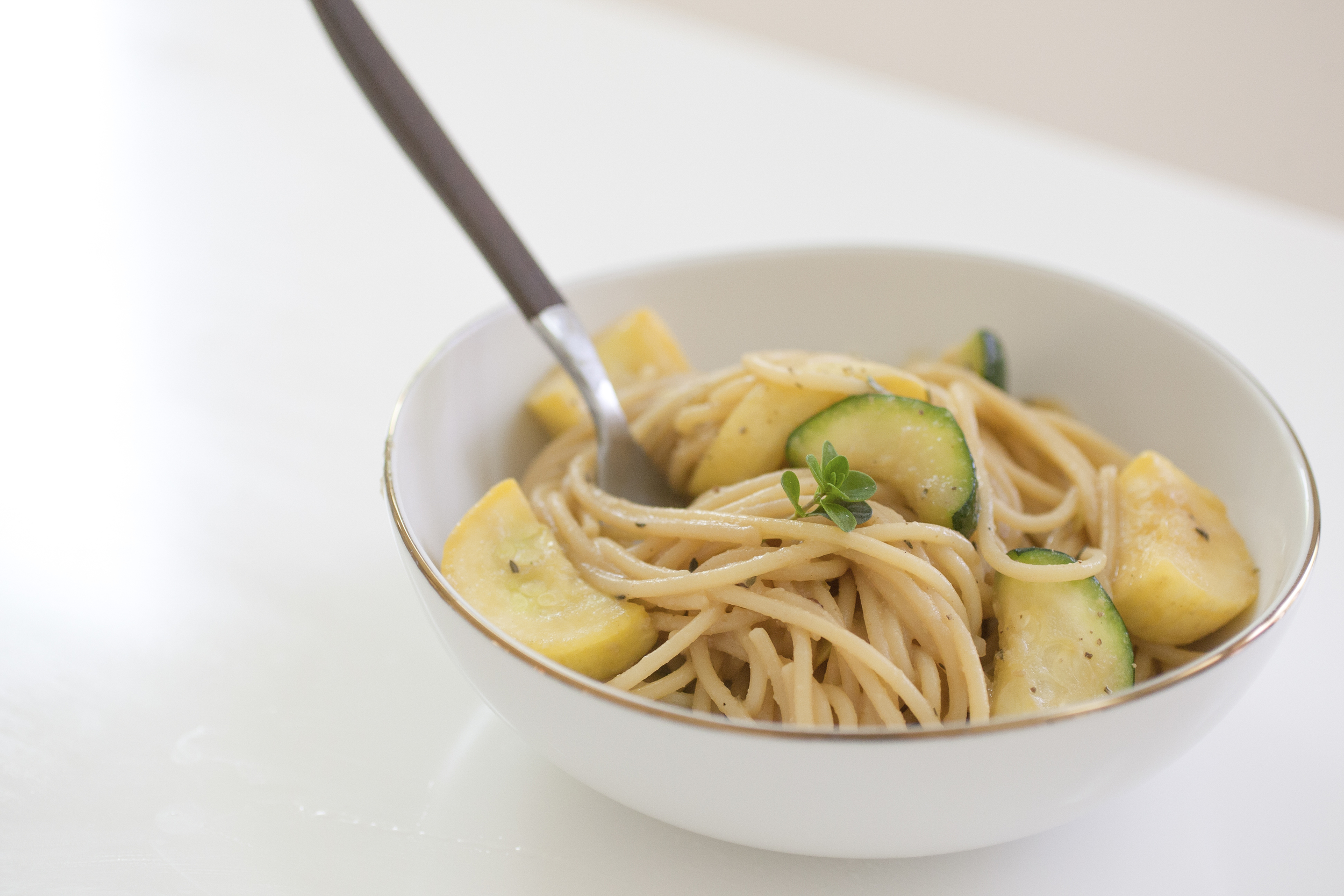 Produce On Parade - Miso Pasta with Summer Squash - This creamy, miso-flavored pasta pairs perfectly with tender summer squash with notes of garlic, thyme, and cheese. Dinner is done in the time it takes to boil the noodles!