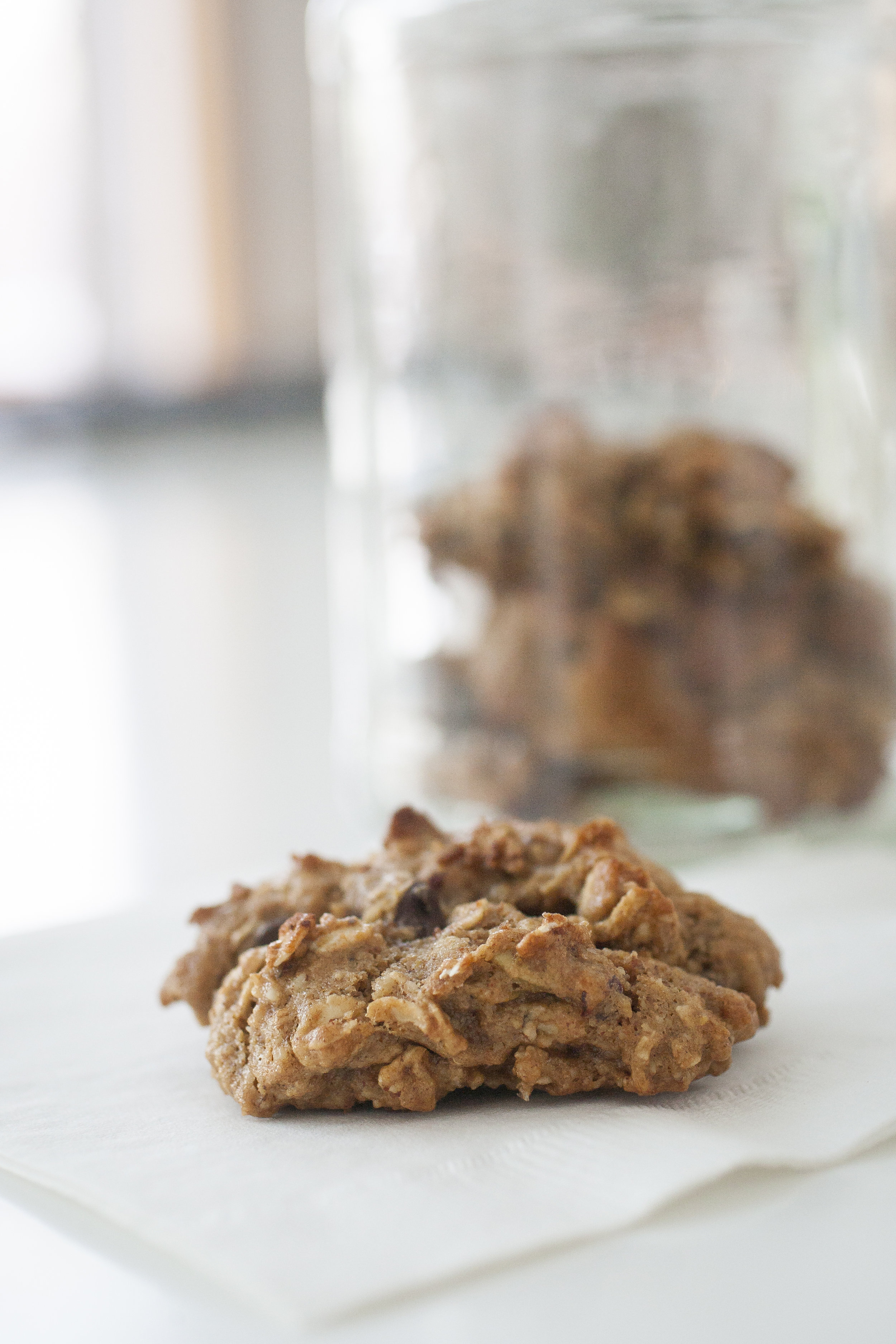 Produce On Parade - Easy Breakfast Cookies - These are my go-to breakfast cookies! They are healthy enough to munch on a couple for breakfast, but  tasty enough for dessert too. Nobody wants to eat cardboard cookies, no matter how healthy! These are made mostly with nuts, oats, and flaxseed, and are sweetened with agave nectar, banana, and a touch of brown sugar. Each cookie is studded with dried cranberries, chocolate chips, and pumpkin seeds for a nutritious and scrumptious bite!