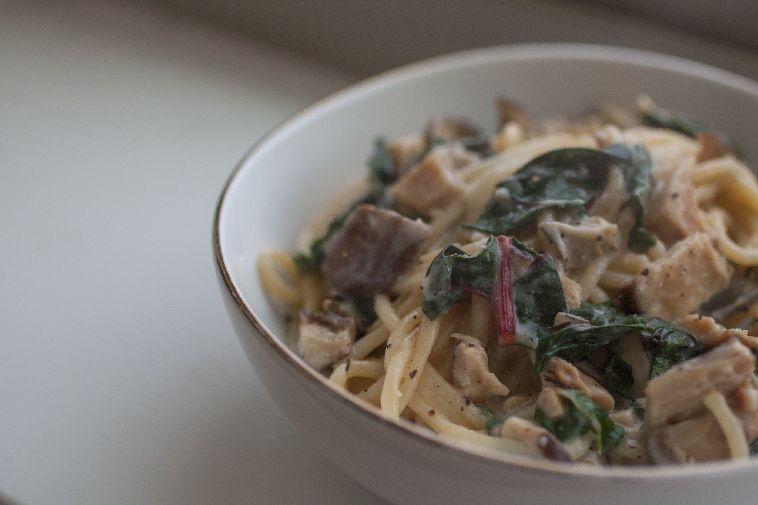 Produce On Parade - Creamy Shiitake & Chard Pasta - There isn't a dish much more comforting than a big bowl of hot mushroom spaghetti in a rich and creamy garlic sauce. This is the absolute perfect meal for cold winter nights! It's remarkable enough for a special occasion but easy enough for a weeknight and is sure to please everyone.