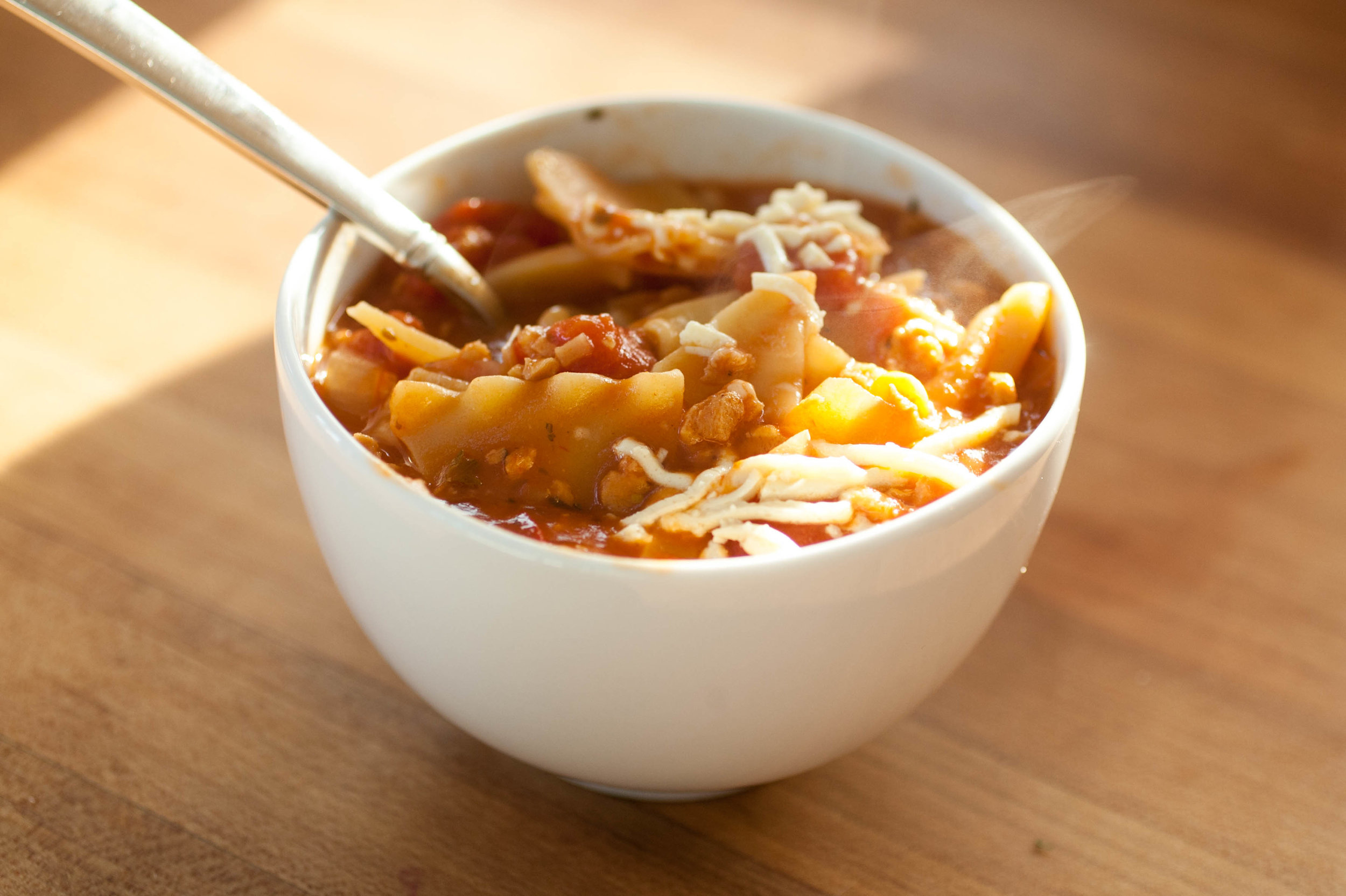 Vegan Lasagna Soup - Produce On Parade- Too tired to make lasagna or don't have the time? This recipe is for you! Lasagna soup has all the great flavors of lasagna, without the labor and time necessary to make the dish. Why haven't I been making lasagna soup all my life? My recipe is a slightly healthier and vegan version of the soup that is the ultimate comfort food. It's sure to be loved by everyone.
