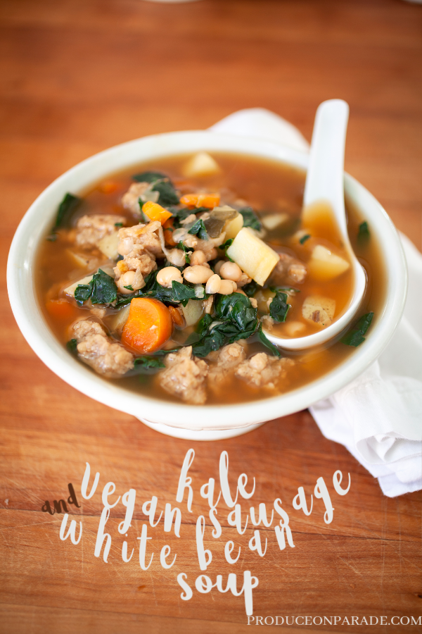 Kale, Vegan Sausage, and White Bean Soup - Produce On Parade - This is one of my very favorite soups, perfect for a dark winter night. It's full of healthy, fiber-filled vegetables and protein-rich beans. Normally I make this soup with diced Italian sausage but after my mother-in-law made it using Lightlife Gimme Lean Sausage, it's become my new favorite way to make it. I finally wrote down my recipe to share with you all! There's a method for a pressure cooker and a soup pot.