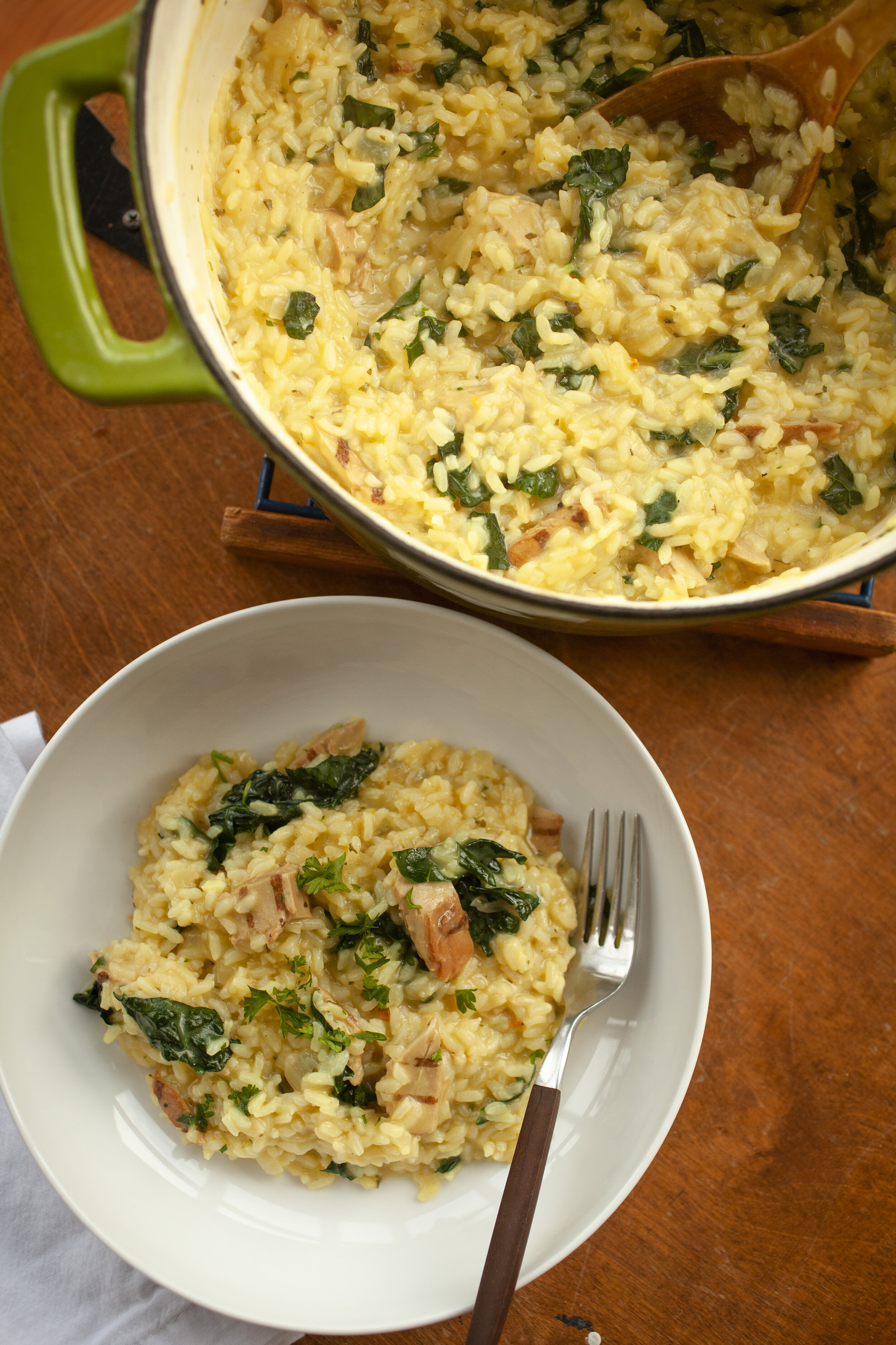 Easy Vegan Chicken and Kale Risotto