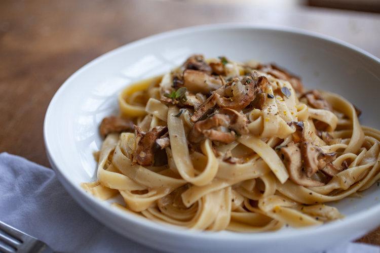 Wild Mushroom, Cream, and White Wine Fettuccine