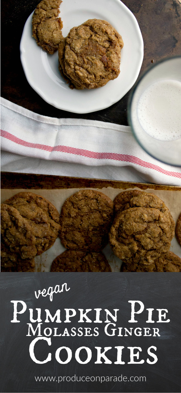 Vegan Pumpkin Pie Molasses Ginger Cookies