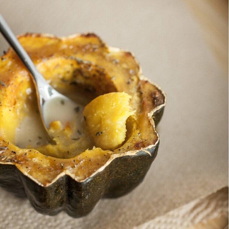 Eggnog Roasted Acorn Squash