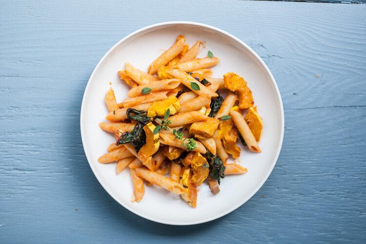 Delicata Squash and Chard Penne Pasta