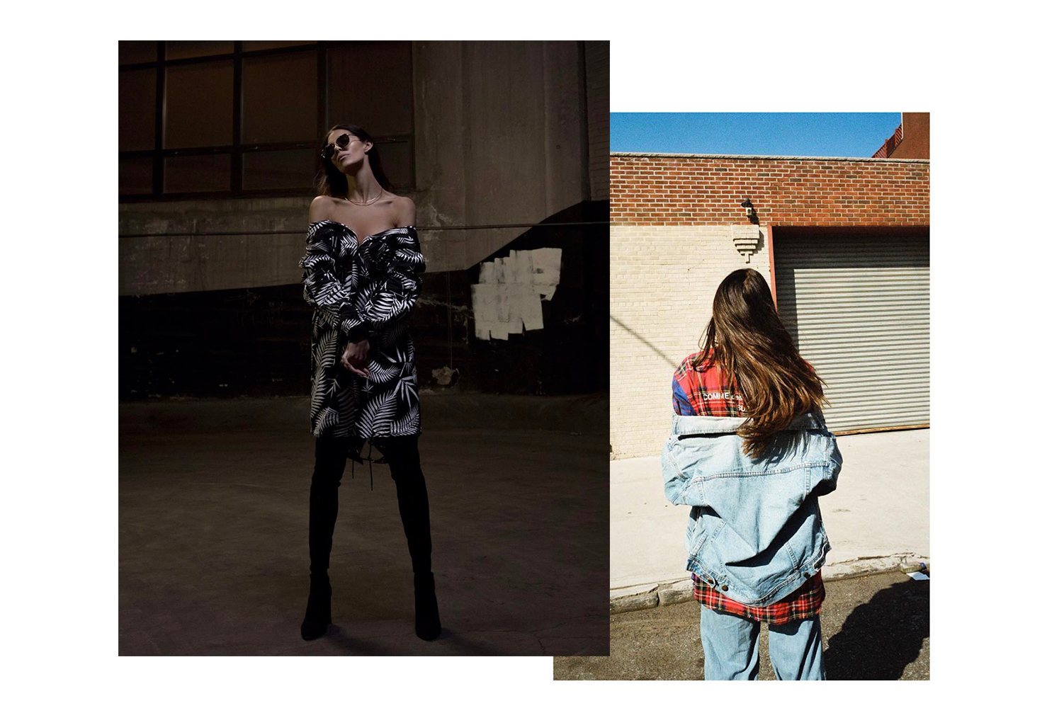 Left:  Kayla for Damaged Magazine, shot by Jo Bailon  Right:  Kayla by Ellington , styled by  Sashà Elina De Oliveira
