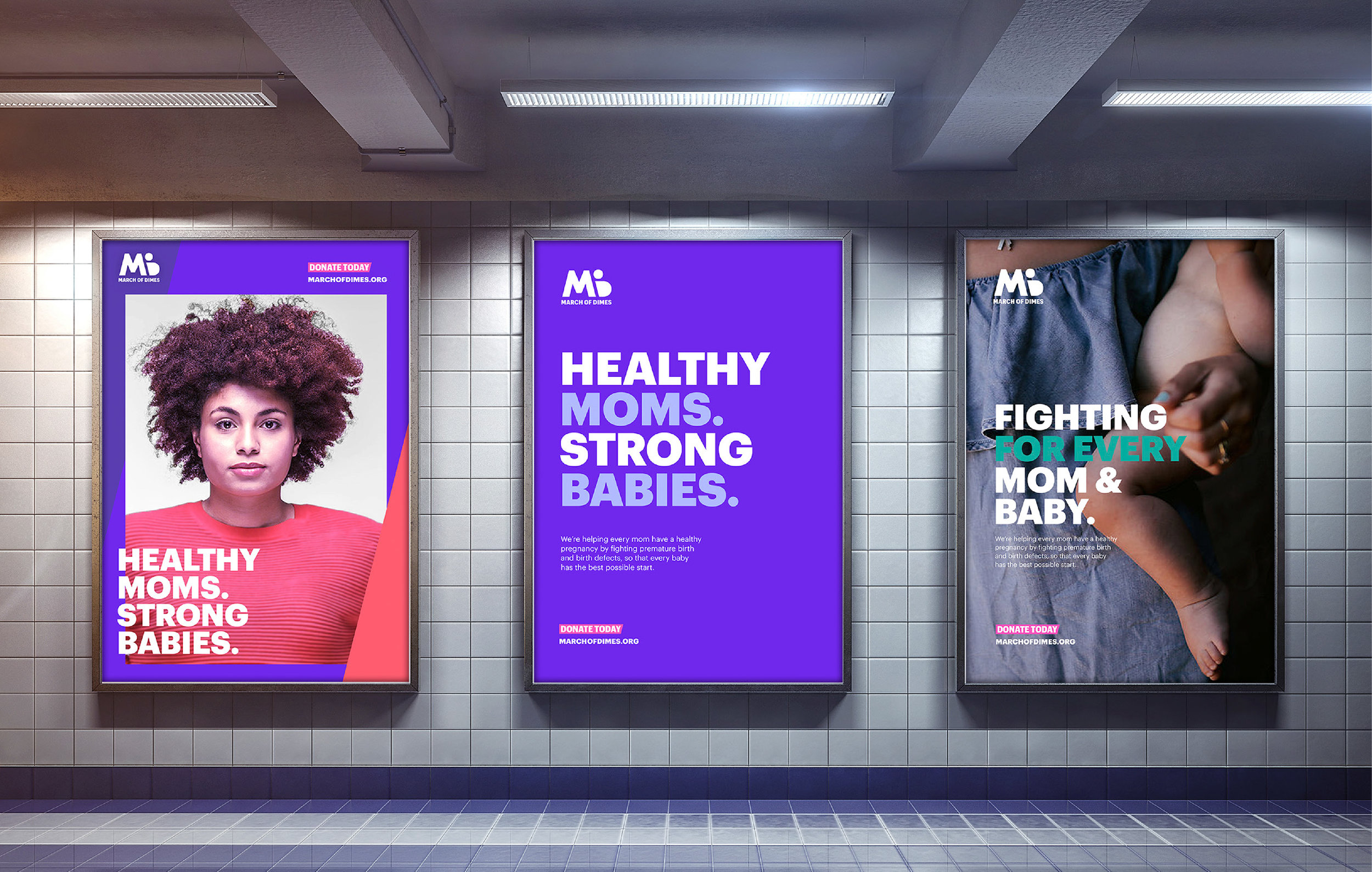 March of Dimes rebrand  Created at Purpose PBC, 2018 Role: Visual Designer; worked on brand identity and various print and digital collateral