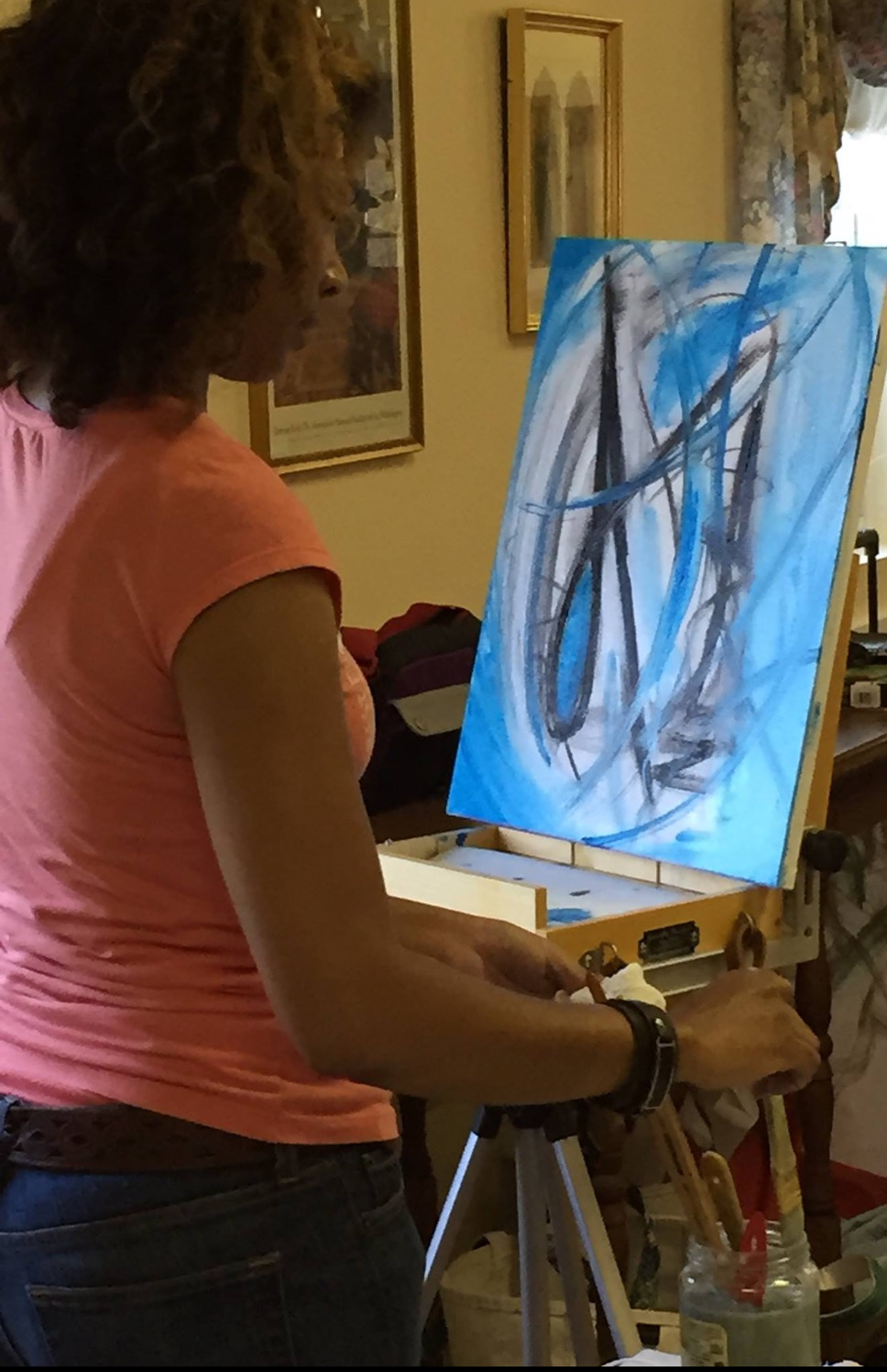 Artist, E. Lynn Coates at the Bryan Jernigan Abstract Workshop at St. Mary's College