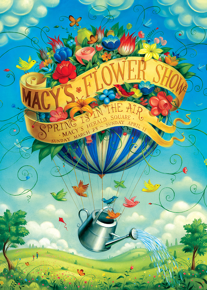 """Macy's Flower Show/30""""x32""""/oil on board"""