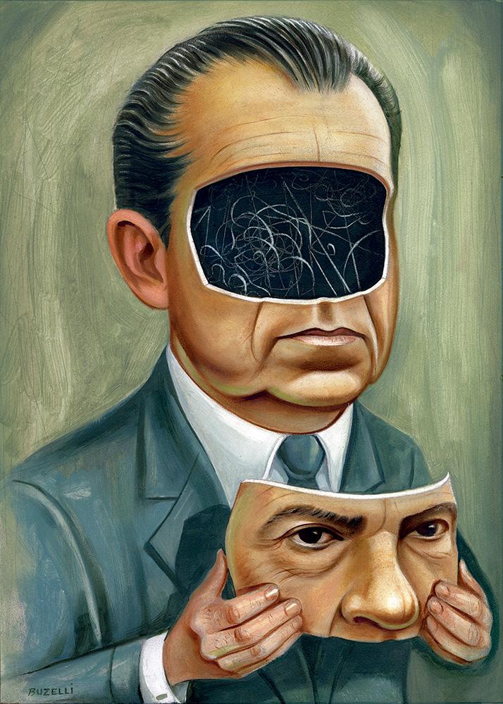 "Nixon/oil on board/11""x15.5"""