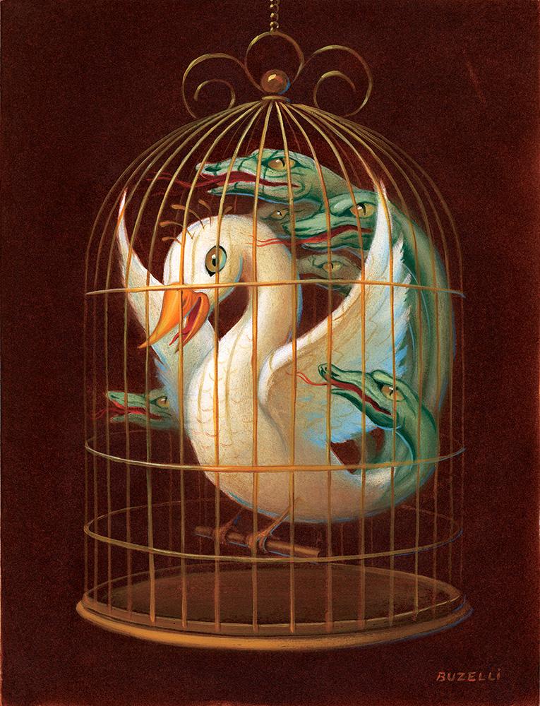"""Regulation Cage"" / oil / 9.5""x13"""