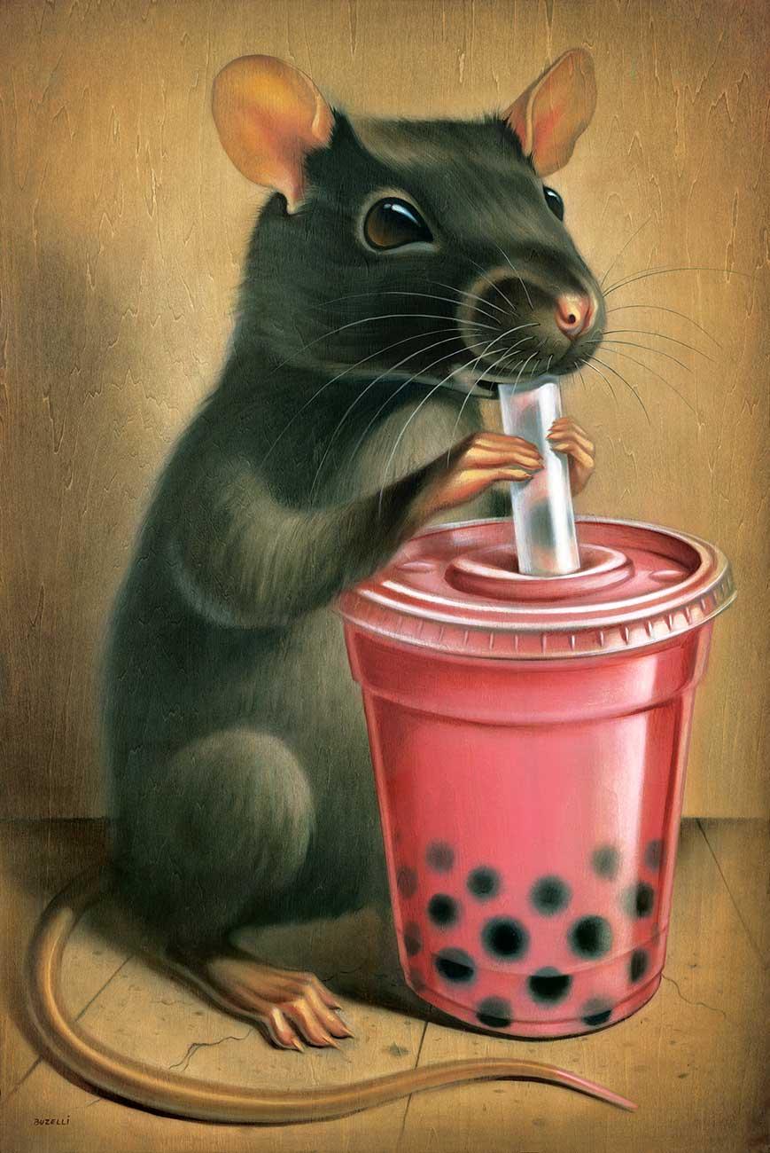 """Bubble Tea Rat/24""""x36""""/oil on wood"""
