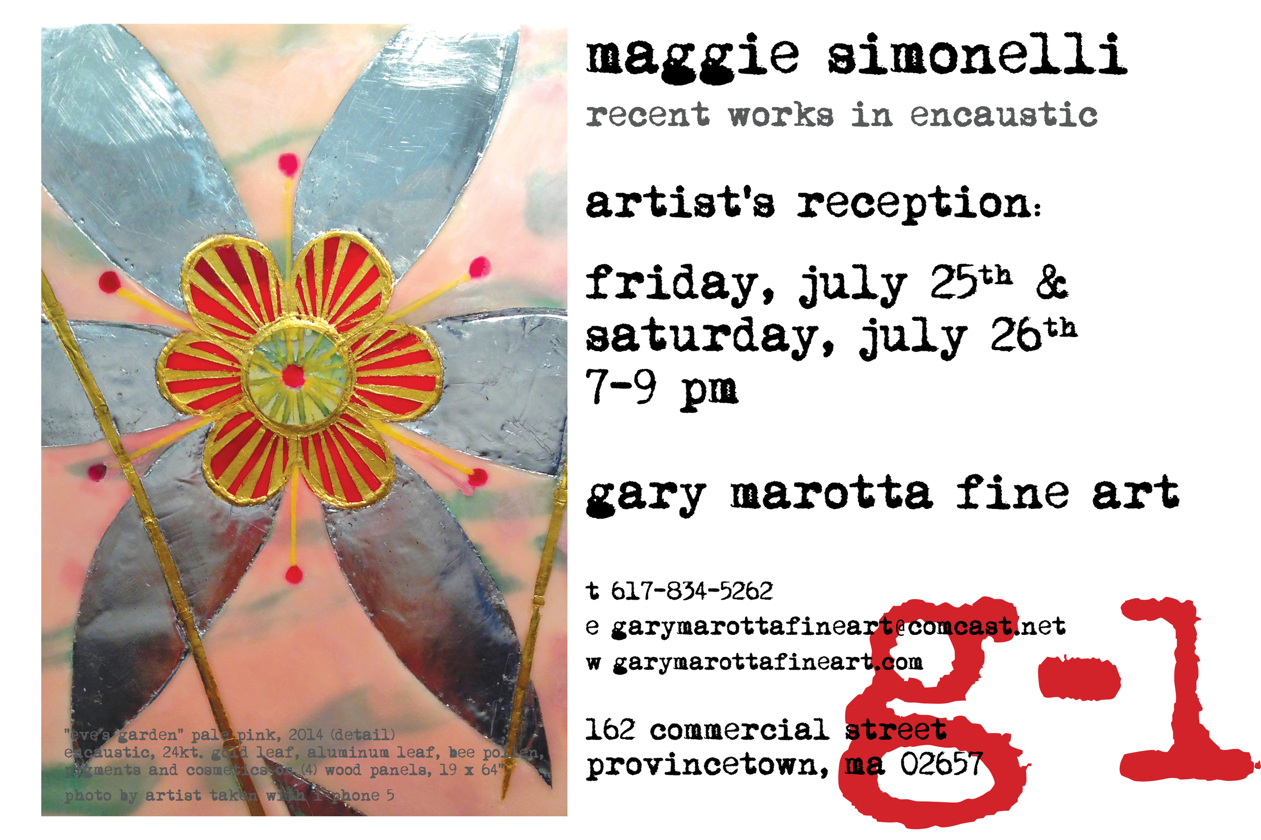 Invitation to Maggie Simonelli's painting exhibition at GMFA Summer 2014