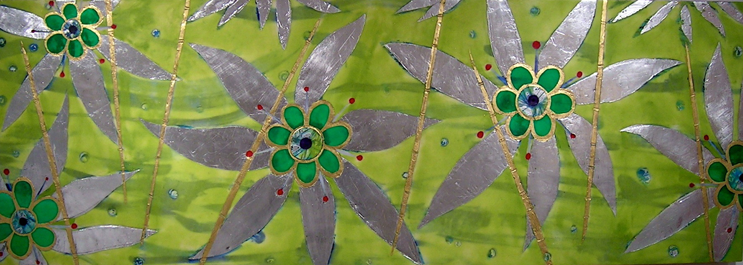 "Maggie Simonelli   Eve's Garden, Lime green  Encaustic, 24 kt gold leaf, aluminum leaf, eye shadow, lipstick, pigments and bee pollen on floating birch panel 24"" x 68"" (sold)"