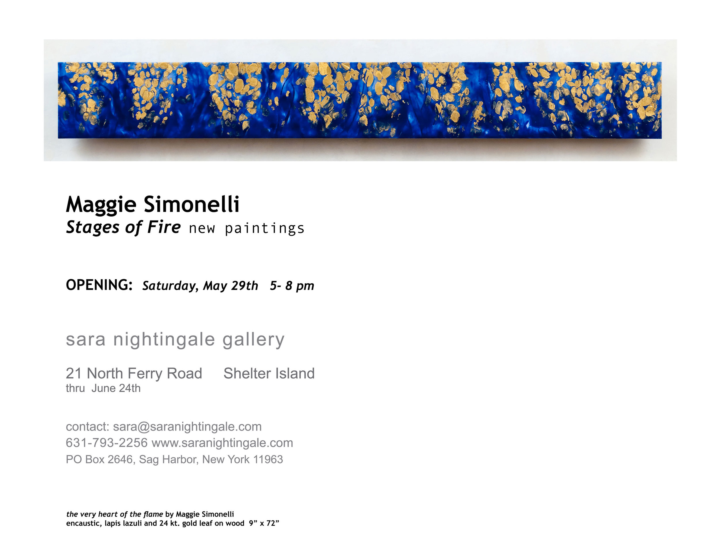 Maggie Simonelli's painting exhibition,  Stages of Fire  invitation for Sara Nightingale Gallery 2010