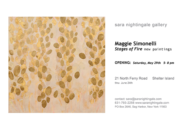 Invitation to Maggie Simonelli new paintings at Sara Nightingale gallery in Hamptons