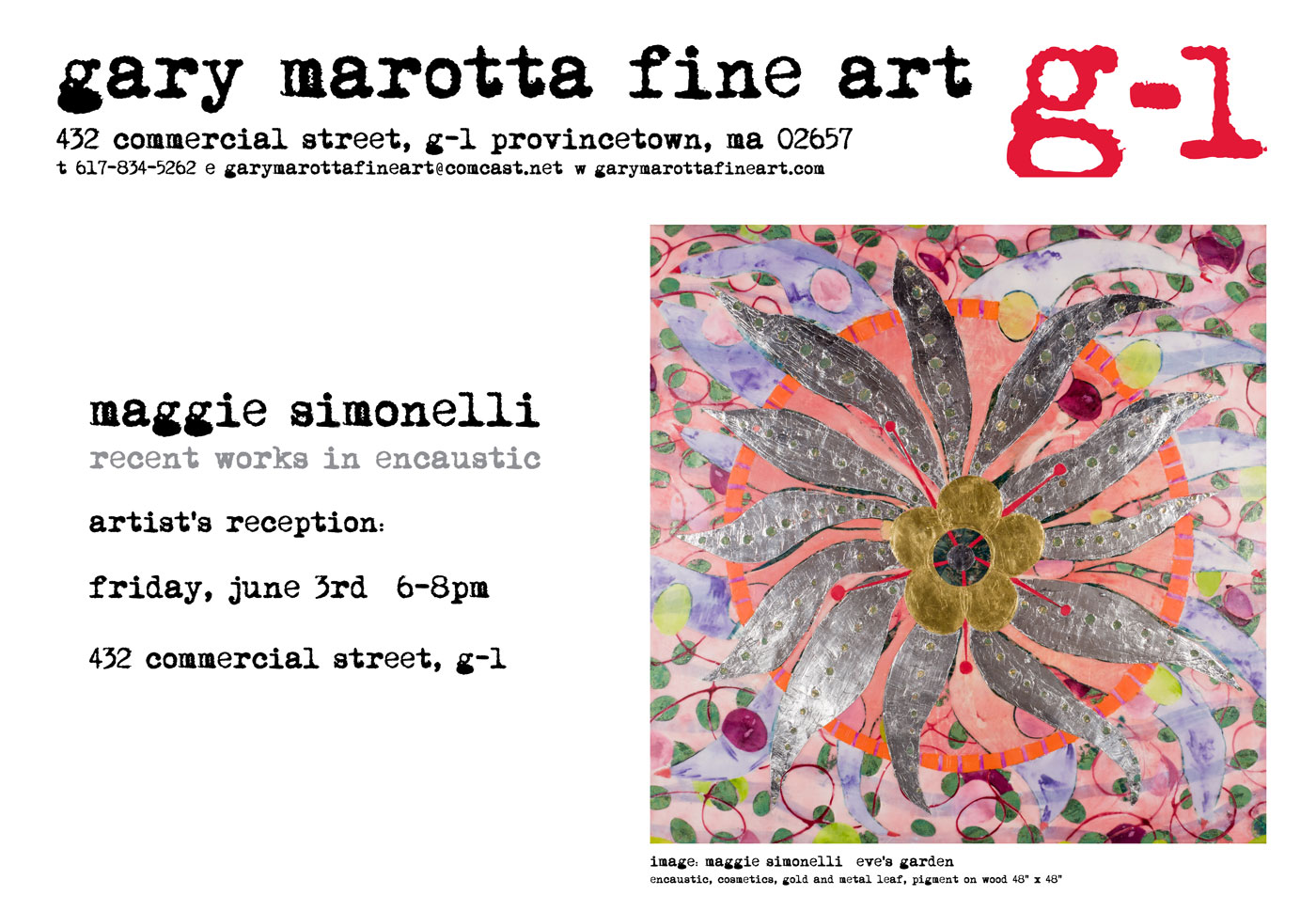 Invitation for Maggie Simonelli recent encaustic works at Gary Marotta Fine Art