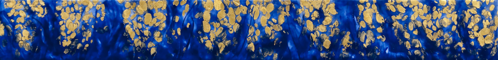 "Stages of Fire, ""the very heart of the flame""   ,  flamma lapis   2010 by Maggie Simonelli   Encaustic, Lapis lazuli + 24 kt gold on floating birch panel   9"" x 72"""
