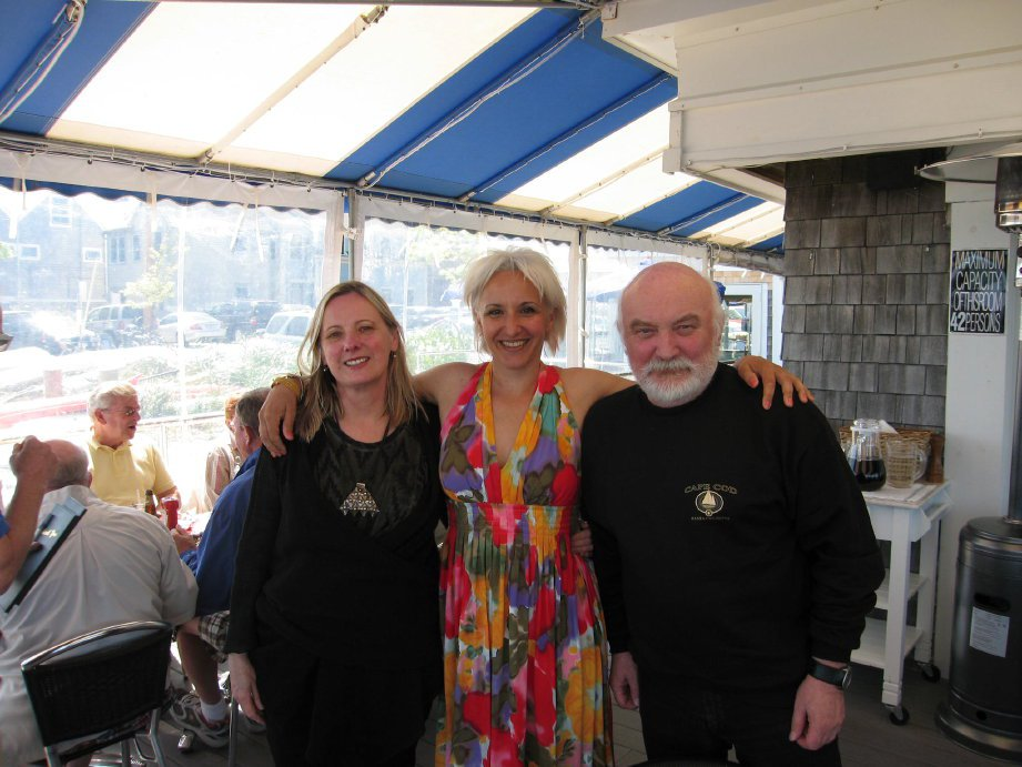 At lunch at Pepe's on the Harbor with Janusz, Art Dealer and collector, Wieslawa Piotrowska-Sowadska in Provincetown  during my exhibit 2012