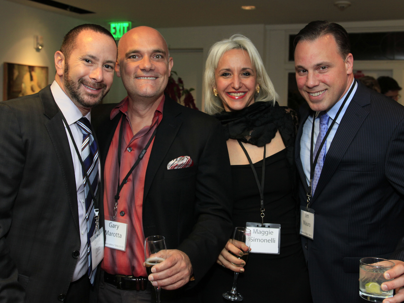 Inside at PAAM Gala Dinner October 2013 with David Datz ,gallerist  Gary Marotta , artist  Maggie Simonelli  and Jim Mauro.