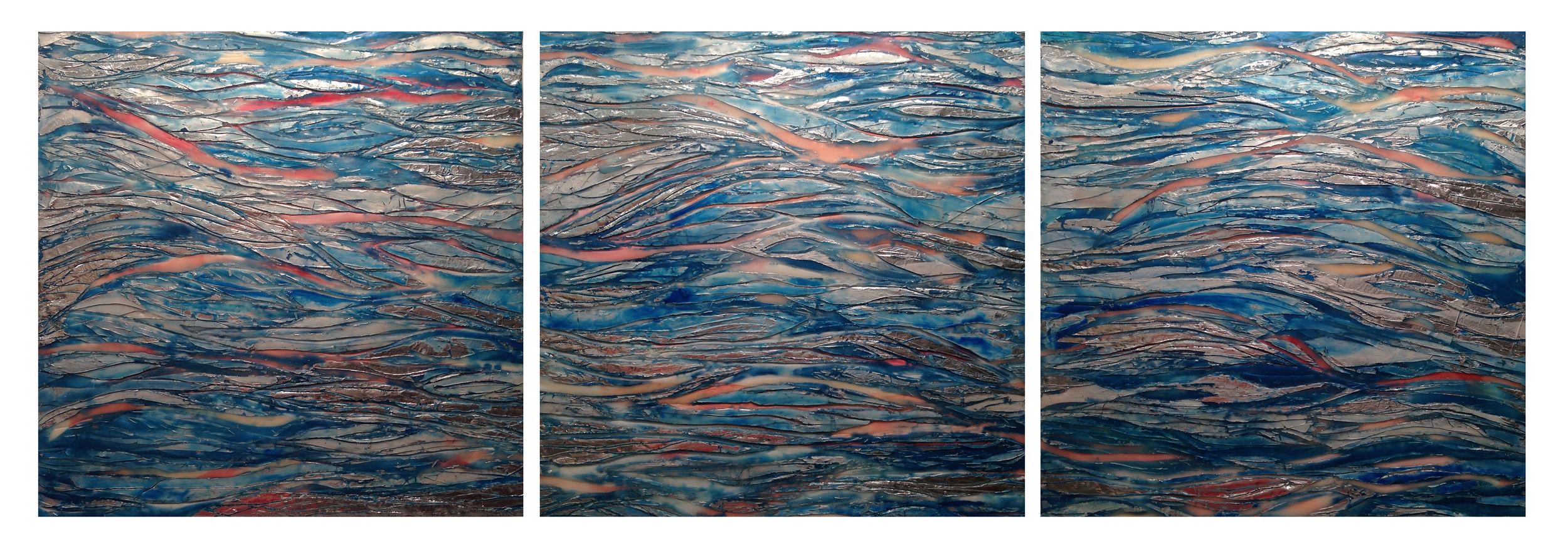 "Maggie Simonelli    Fire in the River, Meditations on the Hudson  Encaustic, water: Hudson River, eyeshadow: Sephora  Color N° 13 Curacao Punch , Japanese coral, Chinese cinnabar, aluminum leaf, pigments and acrylic on floating birch panels  TOTAL : 3 Panels 18"" h x 56 1/4"" w"