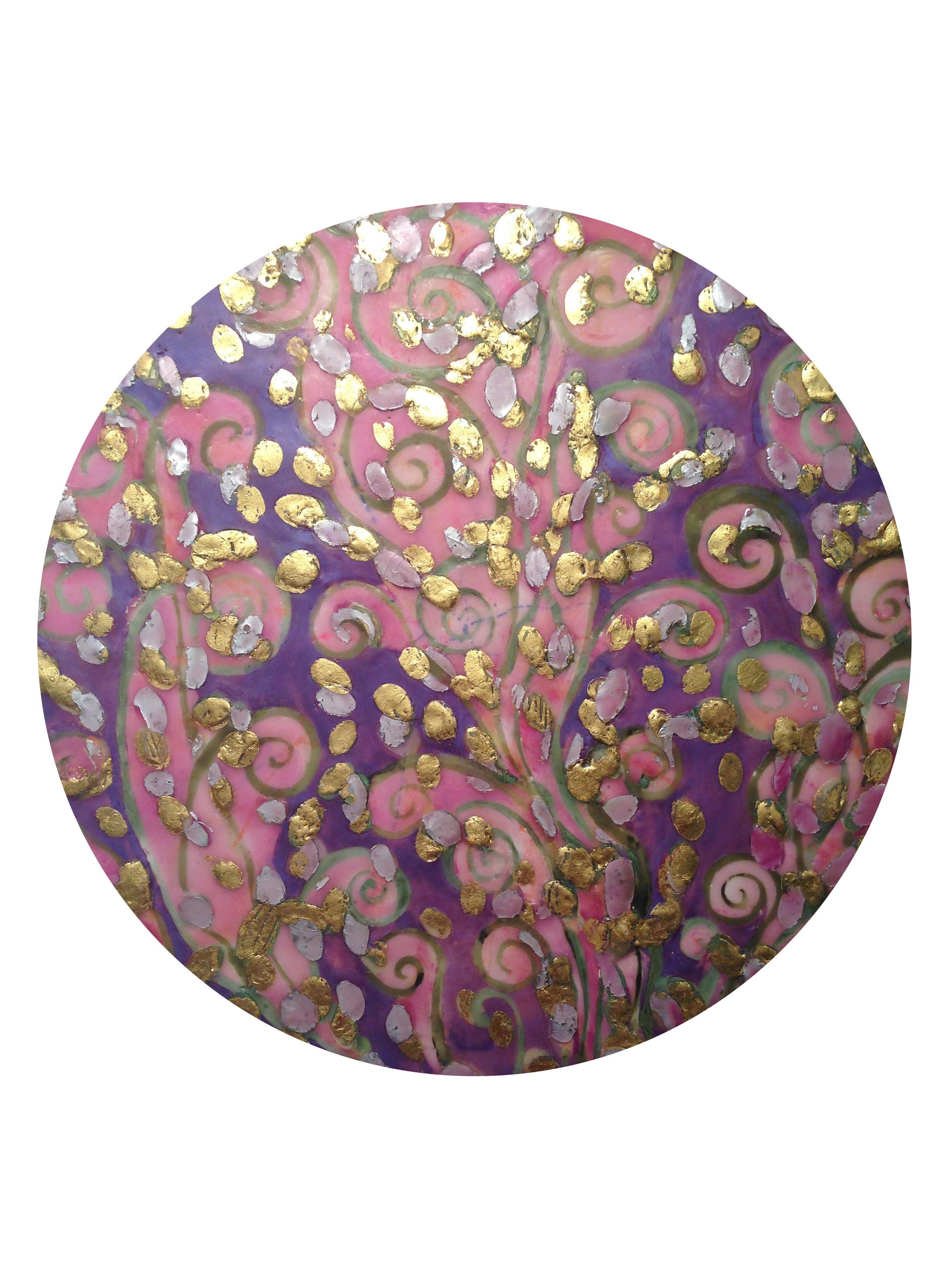 """In the Garden ,  Passion Fire  series by Maggie Simonelli Encaustic (cosmetic grade beeswax), 22 kt gold leaf, aluminum leaf,  Chanel   96 Utopia  eye shadow, pigments, casein and lotus oil on birch panel 20"""" Diameter"""
