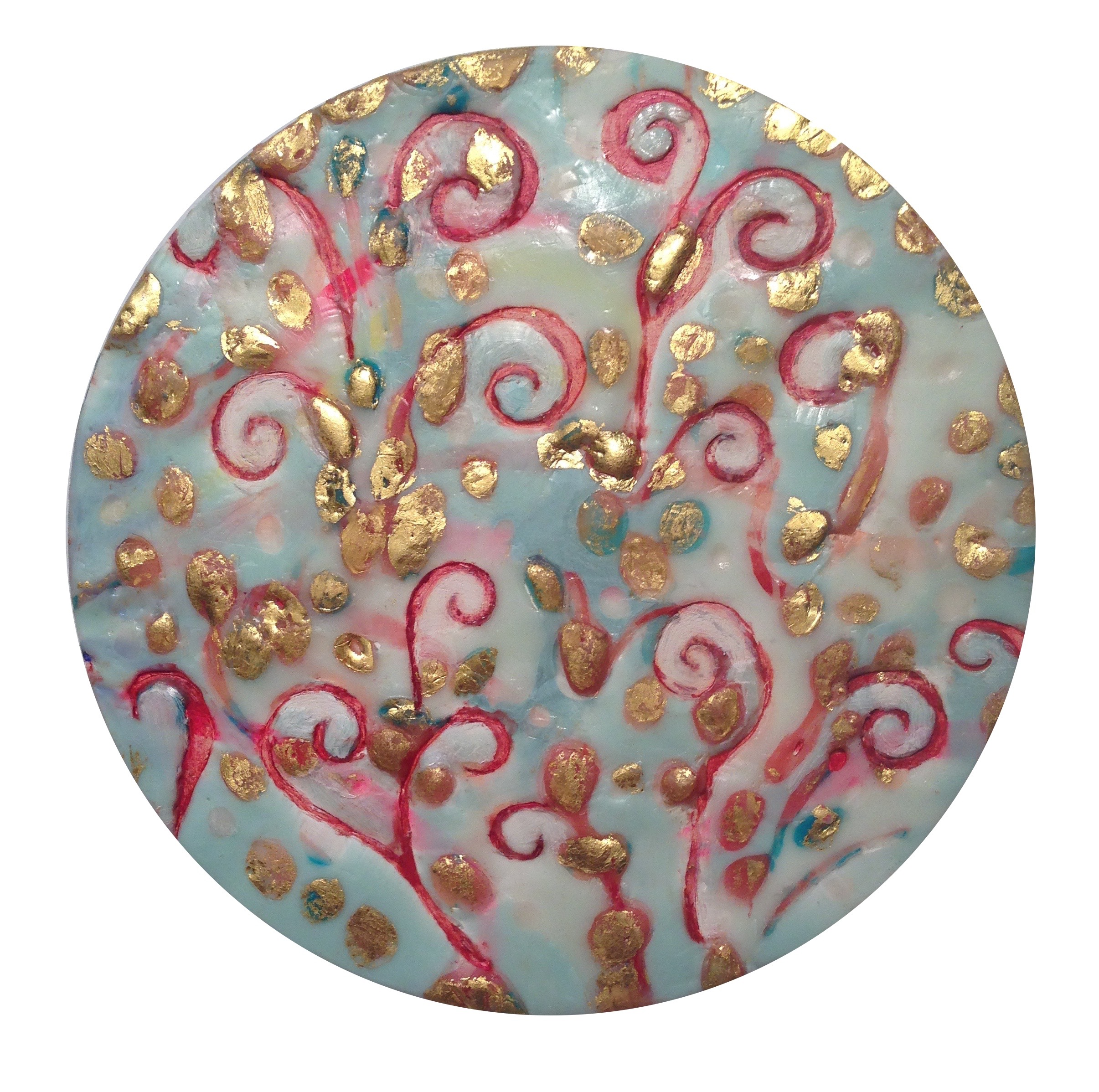 """Gentle Breeze on Celadon Sea ,  Birth of Venus  by Maggie Simonelli  Passion Fire  series Encaustic(cosmetic grade beeswax), 22 kt gold leaf, Chinese Cinnabar, CHANEL 104  Passion  lipstick, crushed pearls, crushed oyster shells, and pigments on birch panel 9"""" D (sold)"""