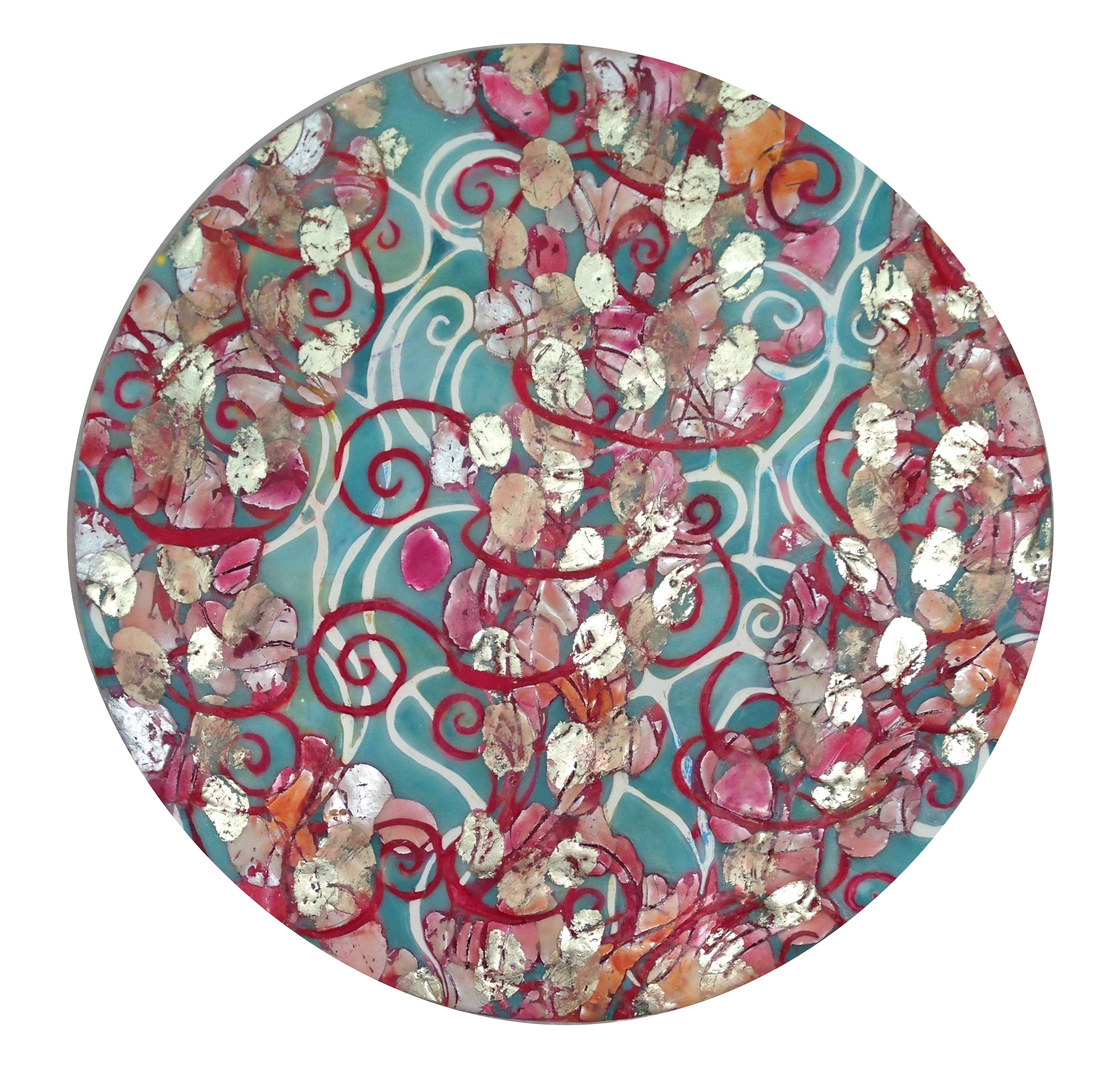 """Rose Petal Kiss & Butterflies,Passion Fire   series by Maggie Simonelli2015 Encaustic, 16 kt pale gold leaf, cosmetics,Lipstick kiss:CHANEL Rouge Coco 31  Cambon  Lipstick, sandalwood oil, pigments, and aluminum leaf on birch panel  20"""" Diameter"""