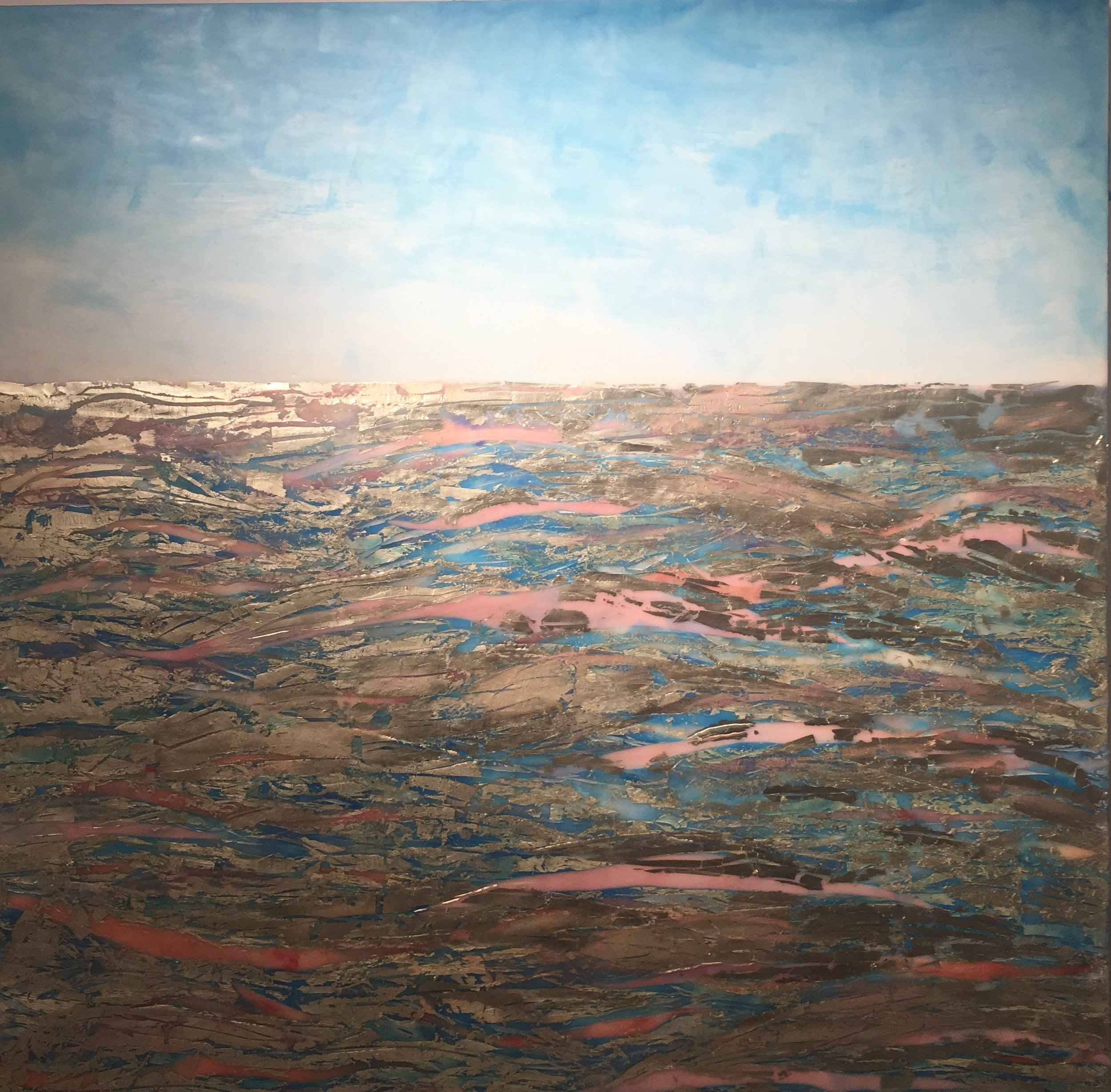 "🌊 of ❤️ Sea of Love by Maggie Simonelli Encaustic, 16 kt pale gold leaf, Japanese coral, Japanese Iwamomo pink glass, Chinese cinnabar, CHANEL 96 Utopia eyeshadow, CHANEL 847 Envol eye shadow, pigments, acrylic under painting, and sea water on birch panel 36"" x 36"" x 1 3/4"""