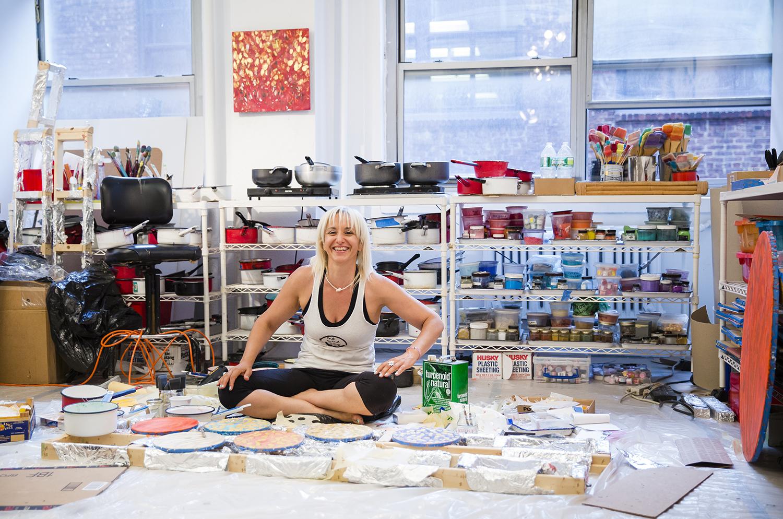 Maggie Simonelli in her studio              * Photograph by Nousha Salimi