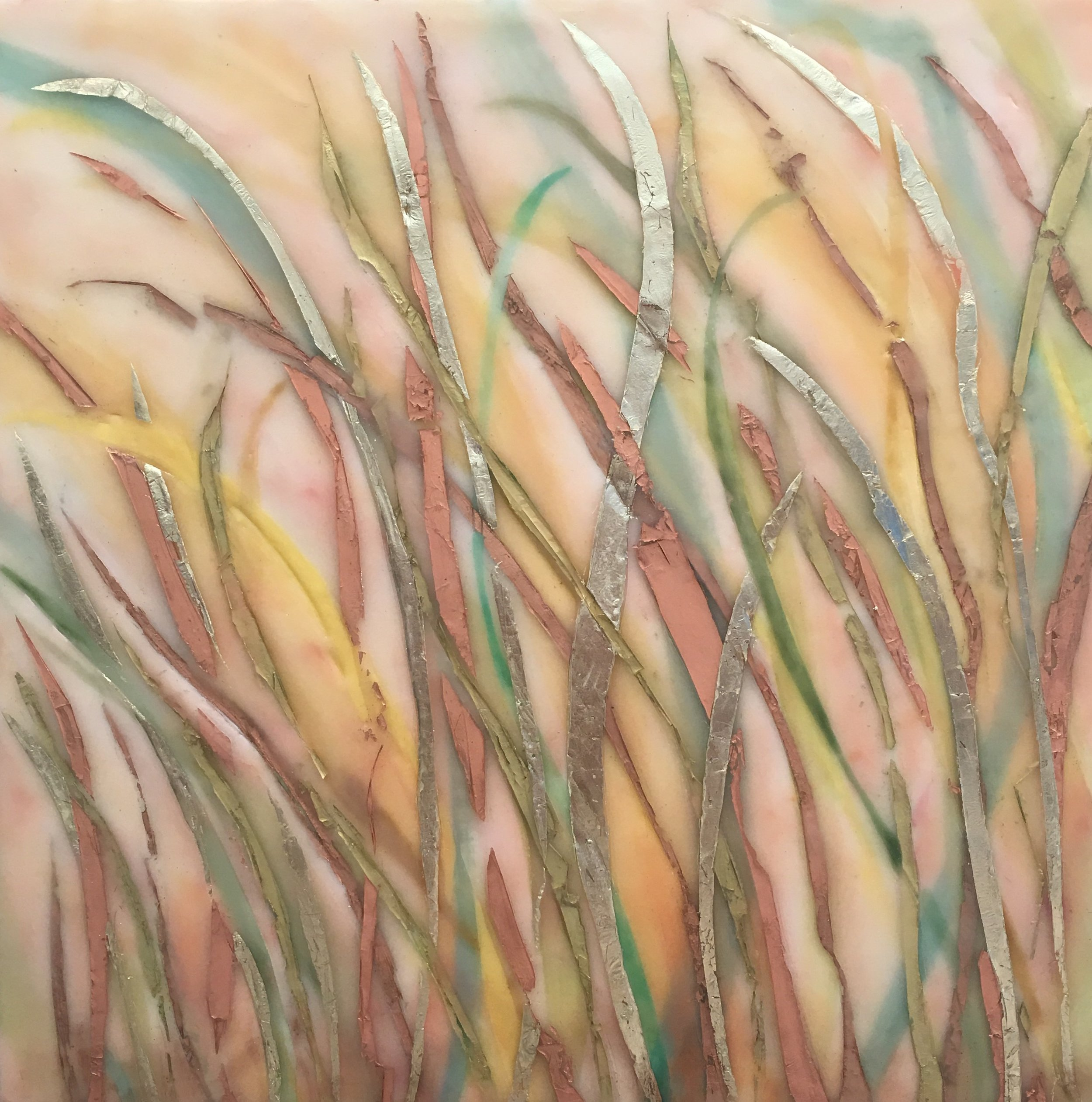 "Wind + Grasses  by Maggie Simonelli * (sold) Encaustic, Japanese coral, Arabian malachite, Japanese ikamomo glass pigment, 16 kt pale gold leaf, bee pollen, oxidizing copper and aluminum leaf, CHANEL 204 TISSE VENDOME eyeshadows and pigments on birch panel, 16 x 16"" (sold)  * Exhibited  Themes of Love  encaustic paintings by Maggie Simonelli at Gary Marotta Fine Art, 2017 Provincetown, MA"