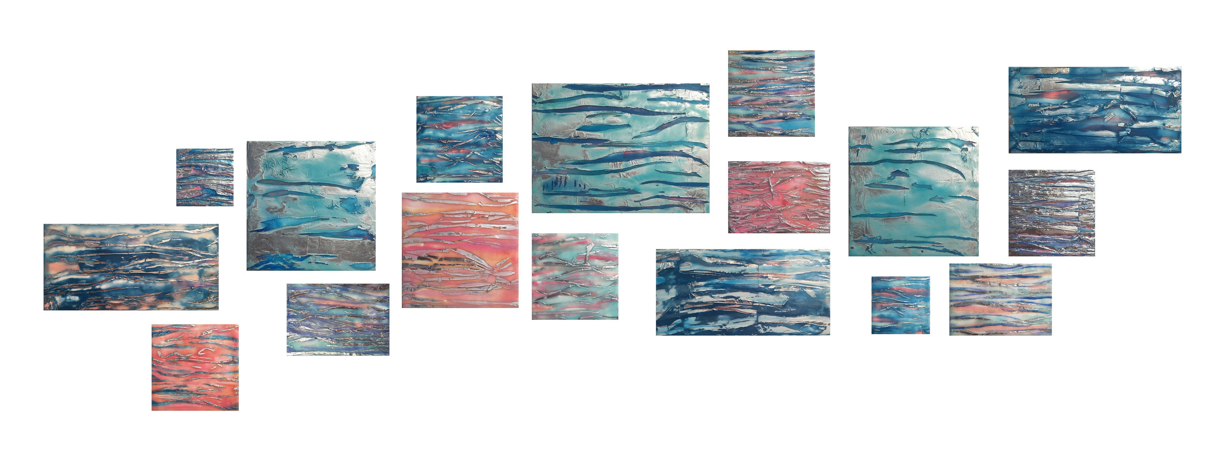 "Maggie Simonelli   River, Flow   2019 Encaustic, CHANEL  Quiet Revolution  eyeshadow, Japanese glass pigments, Japanese coral, aluminum leaf, pigments and water: Hudson River on wood panels. Total composition: 24"" x 78"" x 1 1/2""  (#3, 4 x 4"" , #9, #12 #16 each 6"" x 6"", #14 9"" x 9"" sold)"