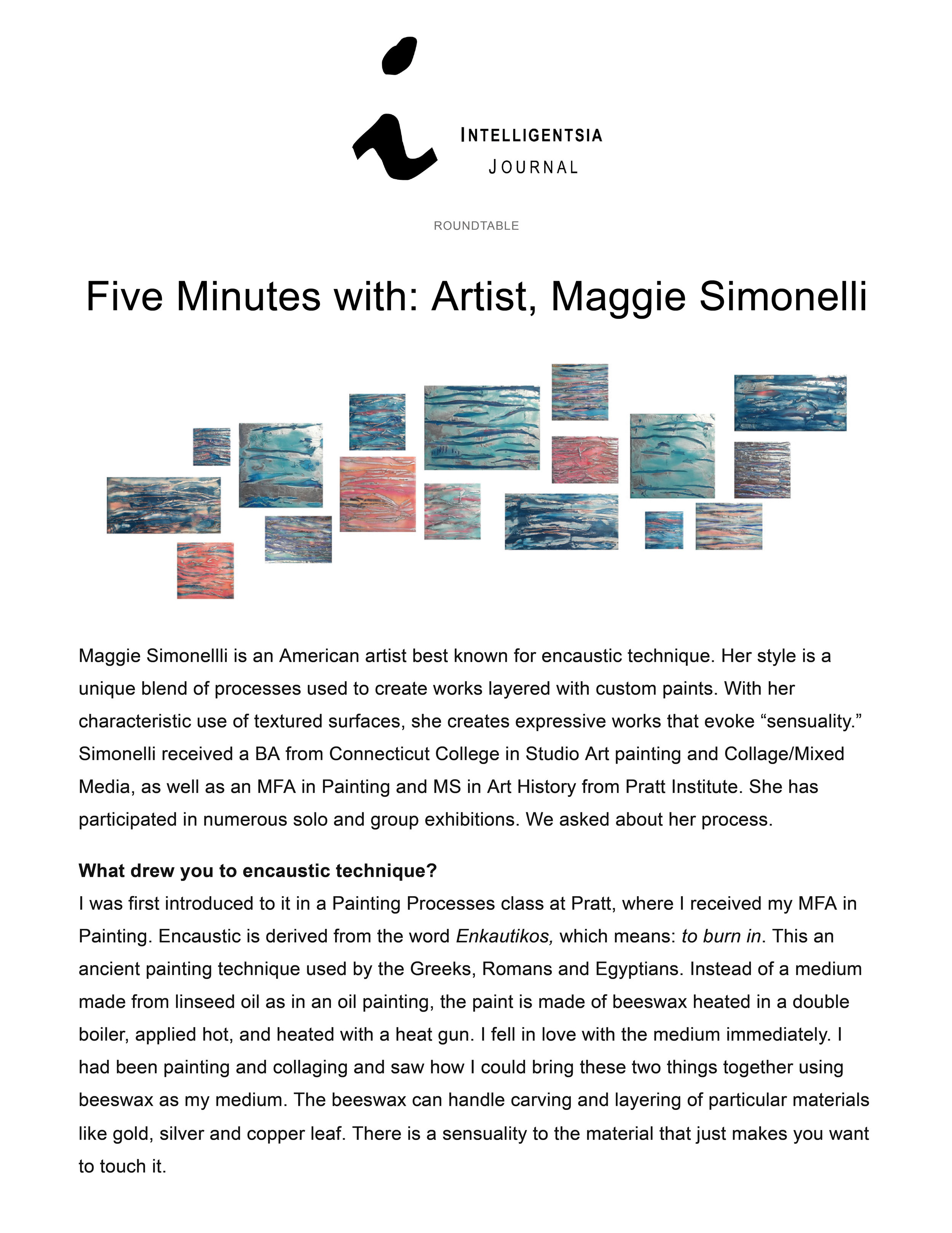 Five Minutes with artist Maggie Simonelli for Intelligentsia ournal written by Christina Spearman
