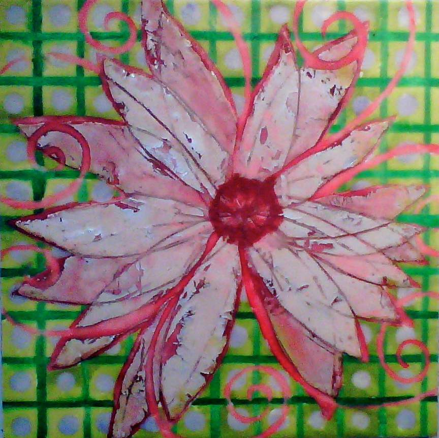Eve's Garden, Pink flower with kelly green grid
