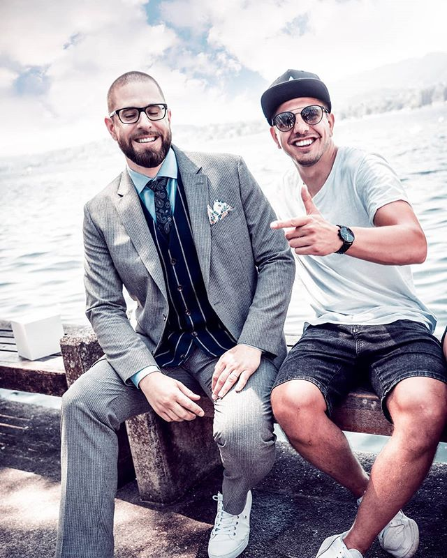 Who is ready for this two crazy guys 🥳  ___________________________________________ #me #photo #friends #work #lake #smile #happy #this #two #guys #photoshooting #instagood #instalike #boy #men #zurich #chur #water #suit #fresh #nice #dudes #adidas #ready #coacharnehetgseitmachmebruescht