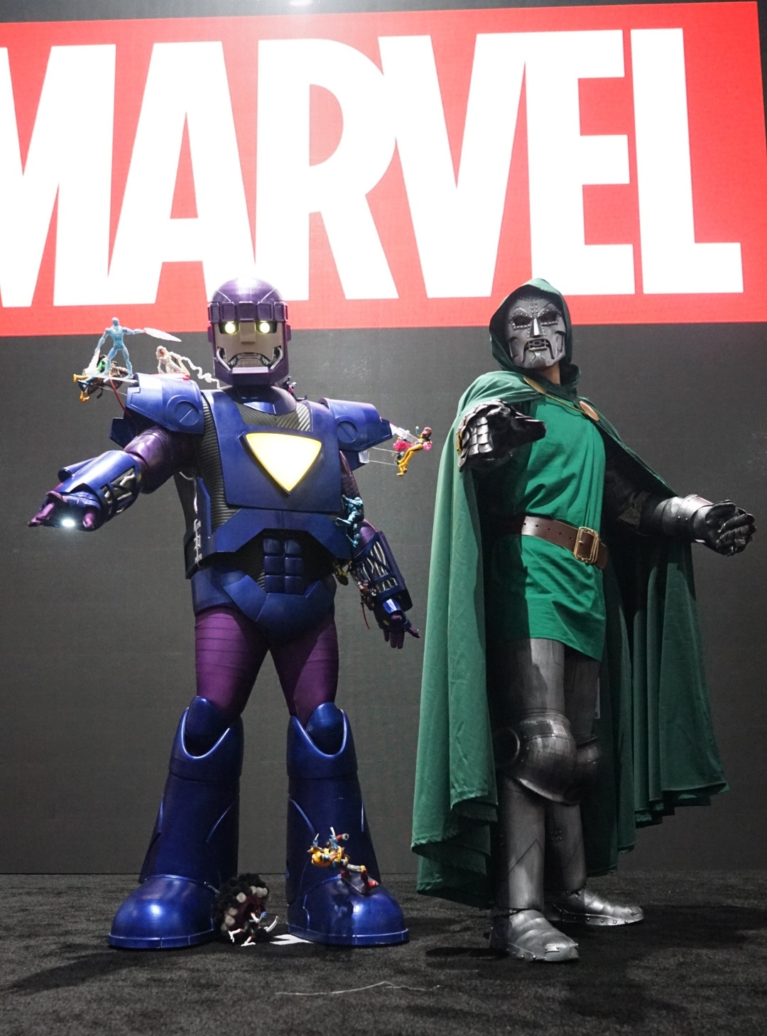 Cory (right) and Brett (left) as Dr. Doom and an X-Men Sentinel respectively at the Marvel Stage at San Diego Comic-Con 2018