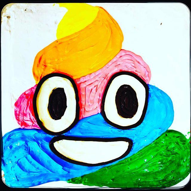 Let them eat #rainbow poop emojis  #birthdaycake