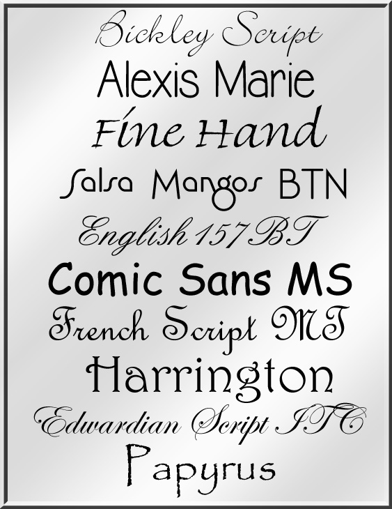 If you purchase engraving for your glass cremation money clip, pick from the fonts above