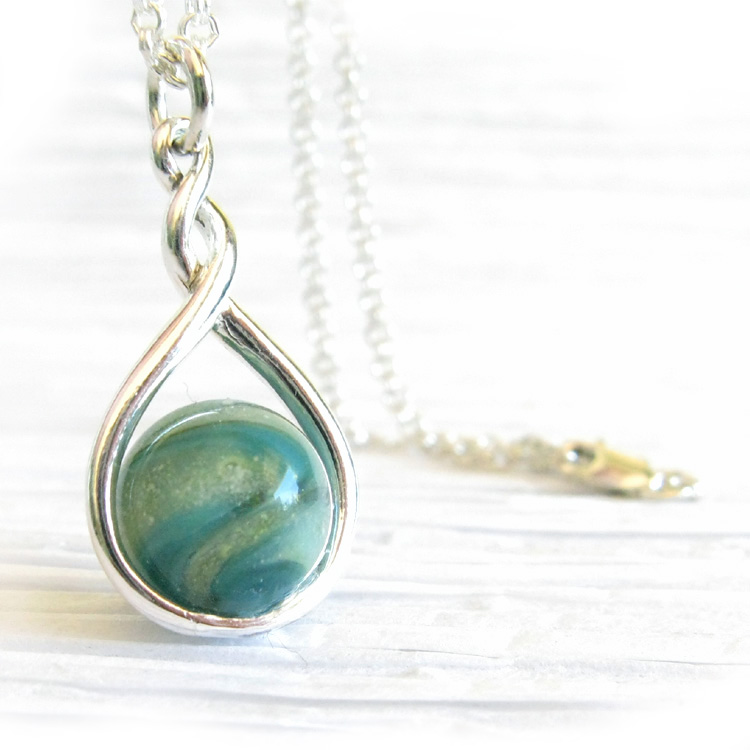 Eternity ~ Glass cremation jewelry sterling silver pendant necklace 11.jpg