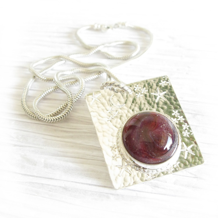 Celestial ~ Glass cremation jewelry sterling silver pendant moon & stars necklace (1).jpg