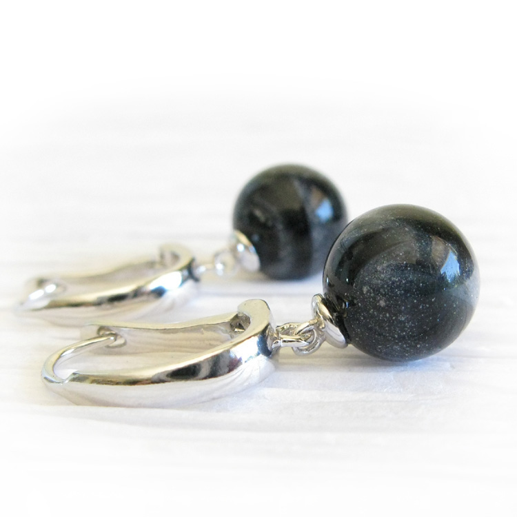 Cherish ~ Glass cremation jewelry sterling silver leverback earrings (1).jpg