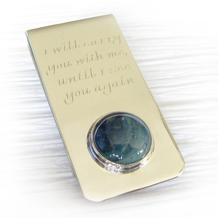 Inspire ~ Glass cremation accessories for men sterling silver engraved money clip (12).jpg
