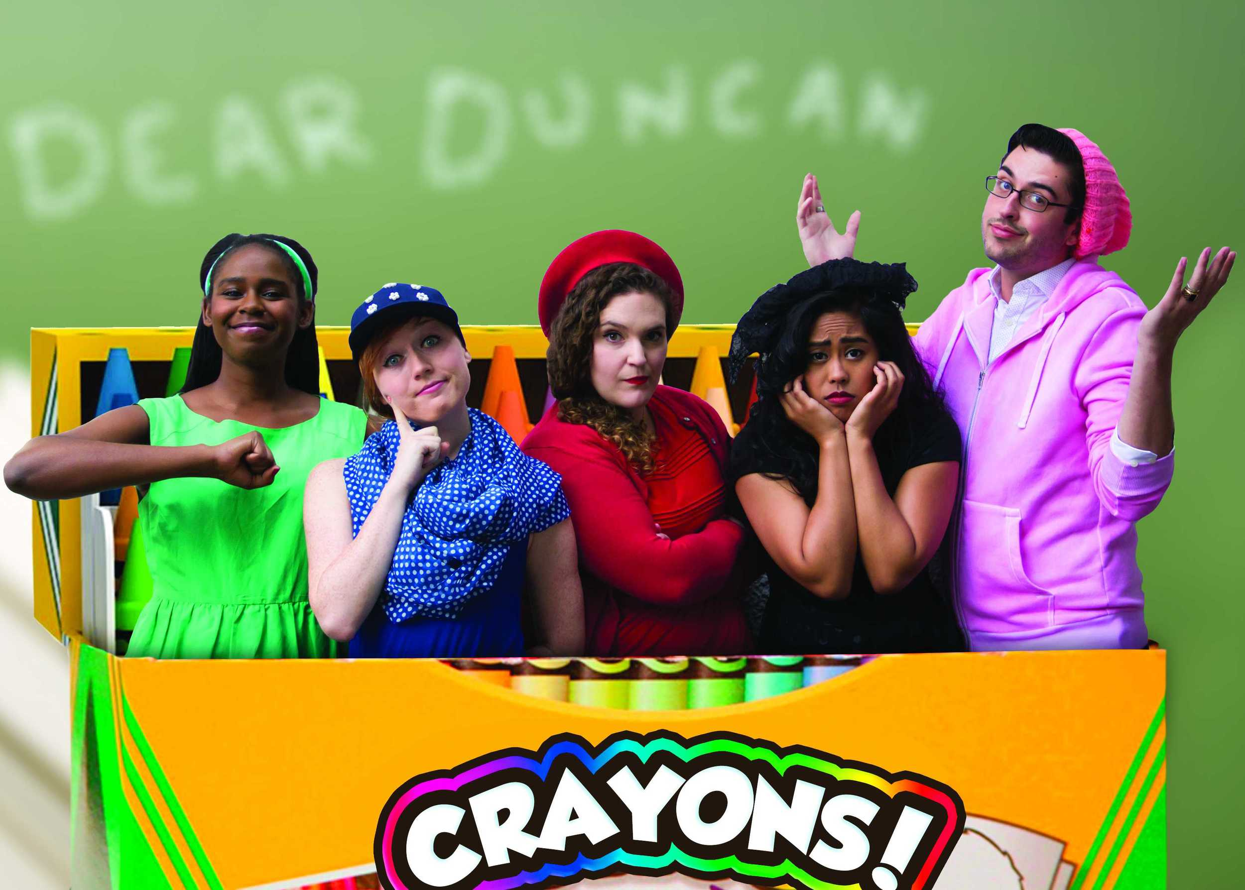 Jacqueline Dennis as Green,  Chloe Condon as Blue, Anna Smith as Red,    Carina Salazar as Black, and Brett Jones as Pink
