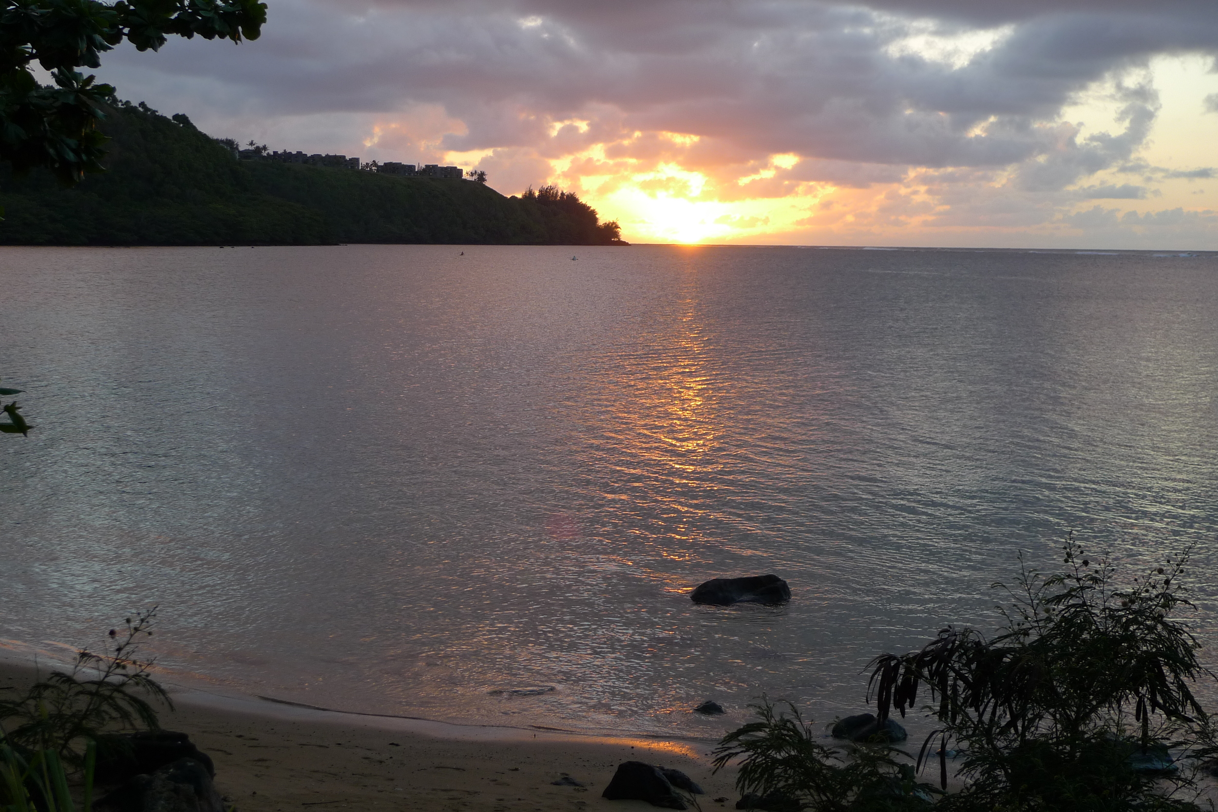 Sunset from our tent at Anini Beach