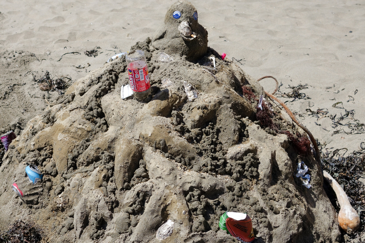 """Ronnie's """"California Coastal Clean Up"""" Sand Sculpture, Winner in The Recycle Category, POINT REYES SAND SCULPTURE CONTEST,2015"""