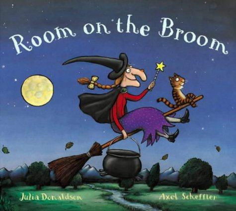 Room on the Broom  by Julia Donaldson   This classic rhyming picture book follows a sweet-tempered witch on a stormy night as she loses her hat, her wand and her broom. Thankfully she makes some animal friends who help her find her lost items and then save her from a dragon.